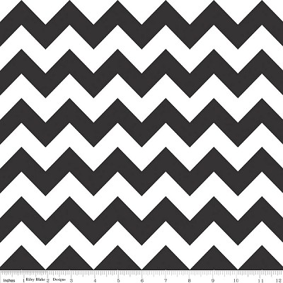 "Medium Chevron Wideback 108"" WB320-110 Black by Riley Blake"