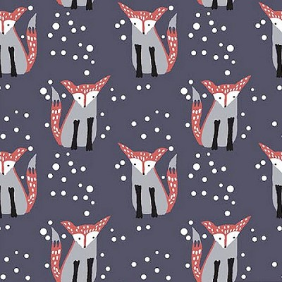 Hilltop WG446 Navy Foxes by Wee Gallery for Dear Stella